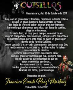 Mensaje dedicado por la Banda Cuisillos a Francisco Ernesto Ruiz