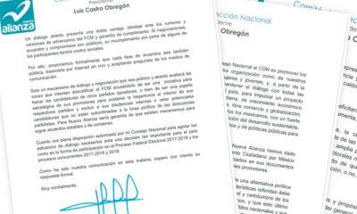 Las cartas, con fecha de 30 de septiembre, indican que la definición se adopta luego de analizar la invitación que en junio les hizo Alejandra Barrales para dialogar sobre la formación del Frente Amplio Democrático y a diseñar un gobierno democrático de coalición.