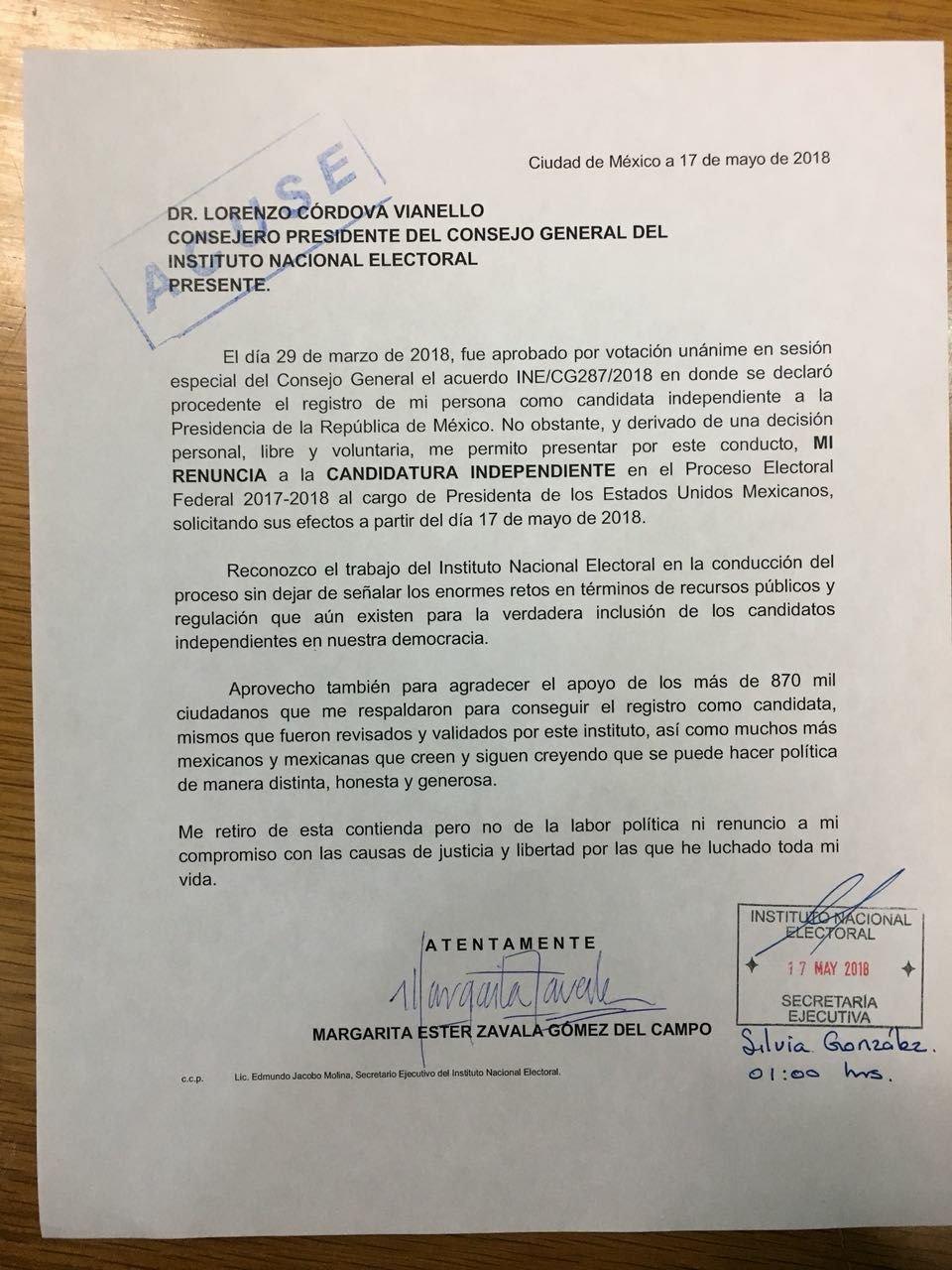 Carta de renuncia de Zavala al INE