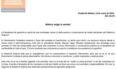 Movimiento Ciudadano, AMLO, Andrés Manuel, López Obrador, Exigencia, comunicado, huachicol, gasolina, Pemex, ductos, robo, hurto, antihuachicol,