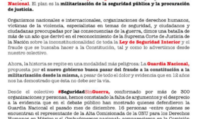"""Seguridad Sin Guerra exige que Congreso no sea solo """"ventanilla de trámite"""""""