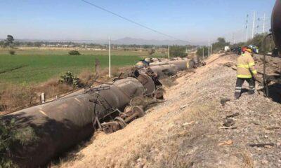 Se descarrilan nueve vagones con combustible en Hidalgo