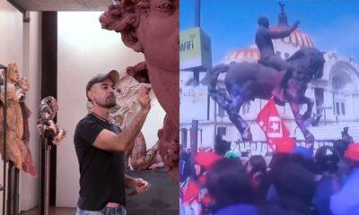 Escultor de Madero de Bellas Artes pide dejar pintura y daños