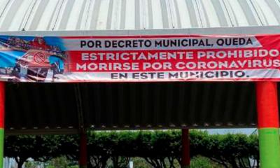 Prohibido, Morirse, Covid-19, Coronavirus, Soconusco, Veracruz, Letrero, Lona, Alcalde, Sinforoso, Muertes, Pandemia,