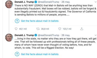 Twitter, Advierte, Mensaje, Hilo, Donald, Trump, Estados Unidos, Votación, Elecciones, Advertencia, Engañosa, Sin fundamentos,