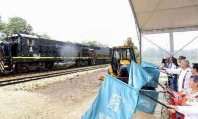 Recordando sus segundos pisos, AMLO echa a andar Tren Maya en Yucatán